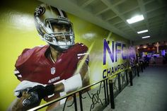 A giant photo of San Francisco 49ers quarterback Colin Kaepernick (7) is painted on the wall of the parking garage at the New Orleans Marriott on Canal Street in New Orleans, La., on Sunday, Jan. 27, 2012. The 49ers will play the Baltimore Ravens in Super Bowl XLVII at the Mercedes-Benz Superdome in New Orleans on Feb. 3.