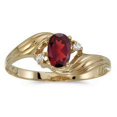 14k Yellow Gold Oval Garnet And Diamond Ring #DirectJewelry #christmas