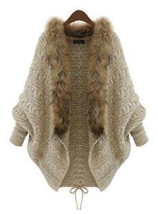 TS kvinners: Bat Sleeve Wool Collar Lace-Up Sweater Cardigan