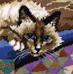 Needlepoint Mini Kit Dimensions Cuddly Cat Siamese Kitty Cat on Carpet 7228 | eBay