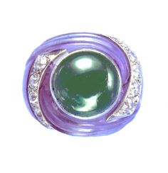 SUZANNE BELPERRON CARVED AMETHYST AND EMERALD RING