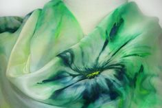 Hand painted silk scarf. Green abstract silk scarf. Silk