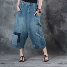 Loose Cropped Pants #loose #cropped #pants #trousers #jeans #patchwork #harempants
