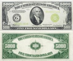Fr.2221-G Series 1934  $5,000 Federal Reserve Note, Chicago, PMG55