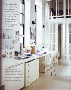 ridiculously sexy office. i dig the tiny black swivel sconces, layers of white, geez...