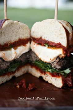 Enjoy a gourmet burger for lunch with this Fried Mozzarella and Sun Dried Tomato Burger recipe!