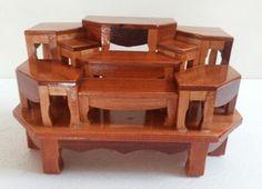 Mini-Wood-Carving-Set-Among-Altar-Table-Buddhist-Flower-Vase-Statue ...