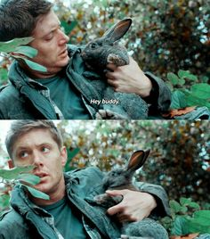 I just love the tiny connection between the bunny and Dean (Jensen) and then he just toss him aside