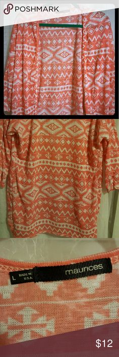 Tribal print cardigan Peach with white pattern, lightweight, worn once Maurices Sweaters Cardigans