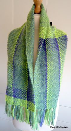 Purple /Green Handwoven Scarf by TheQuiltedWeaver on Etsy