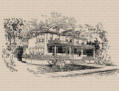 Victorian House Vintage Clip Art Image – 1917 Architecture Illustration – Printable Transfer Graphic – instant download clipart - CU OK