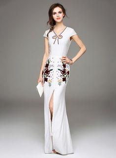 Polyester Floral Cap Sleeve Maxi Vintage Dresses