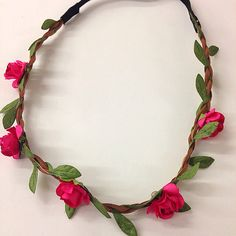 Mini Hot pink flower crown/headband for music festival by CaSales, $3.50