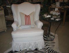 Linen Slipcovered Wingback Chair