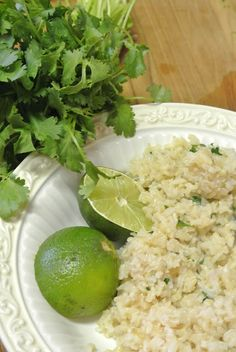 The Barbee Housewife: Cilantro Lime Brown Rice. So Adam is obsessed with Cilantro, finding more ways to use it :)