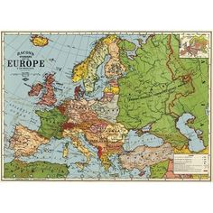 Cavallini Europe Map 3 Wrapping Paper
