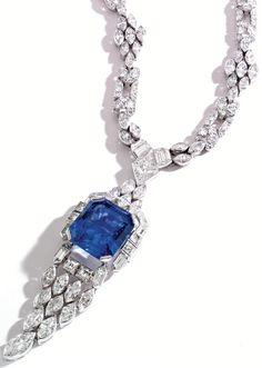 Art Deco sapphire and diamond sautoir by Lacloche Frères, circa 1925. Via Diamonds in the Library.