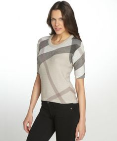 Burberry Burberry Brit stone nova check cotton-cashmere short sleeve sweater top