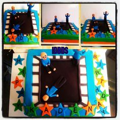 Trampoline cake, boys trampoline cake