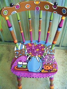 Painted Chair. The Decorative Paintbrush, Designs by Mary Mollica: Chairs Bar Stools