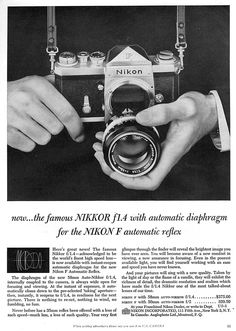 Nikon F automatic reflex 1960 Antique Cameras, Old Cameras, Vintage Cameras, Nikon Cameras, Photography Gear, Photography Equipment, Vintage Photography, Landscape Photography, Portrait Photography