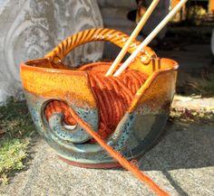 Yarn Bowl Knitting Crochet in Oatmeal and Rutile by sierraclayart
