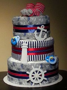 A fun diaper cake with a coastal marine theme