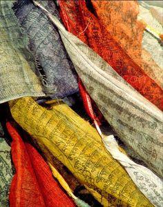Meditation room art Nepal prayer flags photo hand woven yoga space colorful flags Tibet buddhism himalayas - Prayer Flags 8x10. $30.00, via Etsy.