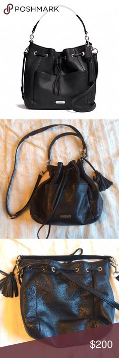 Coach Avery Drawstring Bag In good condition, minimal wear on the inside and no flaws in the leather as far as I can tell. Has a handle as well as a shoulder strap. Black with silver hardware. The style id is F27003. Coach Bags
