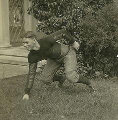 "Football stance by my grandfather, Francis ""Duke"" Dane II, 1926, captain of the Loomis Academy football team."