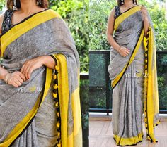 Pure Linen Saree  in gray and yellow and striped Pallu . Blouse - Comes with shaded yellow blouse material Price - 4899 INR .  Kindly write to us at teamyellow@yellowkurti.com or private message us here on Facebook for Orders !