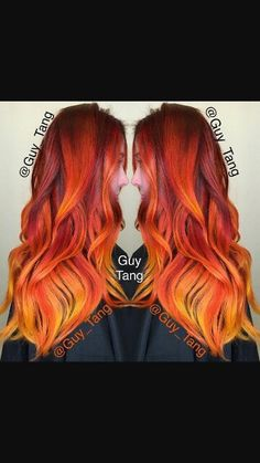 Guy Tang is a hair god. Red, orange, yellow ombre. It's fire.