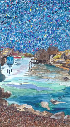 In the Cove Art Print This ink and watercolor painting was a gift to my aunt and uncle for their wedding anniversary! It is a painting of Peggy's Cove, Nova Scotia. Watercolor Paintings, Watercolour, Coving, 50th Wedding Anniversary, Fishing Villages, Canadian Artists, Saltwater Fishing, Nova Scotia, Restaurant Design