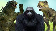 Godzilla Dinosaurs King Kong Dancing And Singing Nursery Song | If You A...