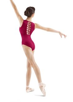 Mirella Rouleaux Lattice Back Tank Leotard