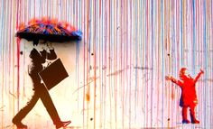 Graffiti Banksy canvas oil Painting Rainbow Rain Man Umbrella wall street Art Urban Custom Stencil Spray by Pepe Banksy, Art Photography, Photo Art, Public Art, Banksy Art, Amazing Art, Art, Graffiti Art, Artsy