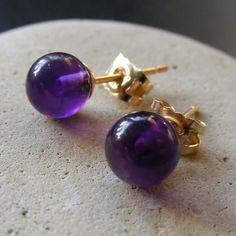 Stud Earrings in 9ct Yellow Gold with Amethyst gemstone Ball Cut Gems £32.00