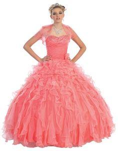 BallGown Sweetheart Organza Floor-length Watermelon Beading Quinceanera Dress at sweetquinceaneradress.com