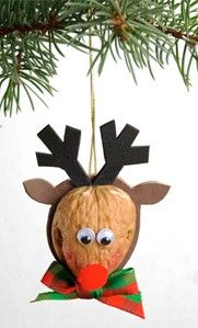 DIY Walnut Reindeer Ornament - Perfect project for the kids! Source by craft_ideas Bird Christmas Ornaments, Reindeer Ornaments, Winter Christmas, Kids Christmas, Christmas Decorations, Kids Ornament, Christmas Projects, Holiday Crafts, Walnut Shell Crafts