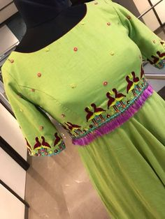 Stunning parrot green color floor length ananrkali dress with flamingo bird pair design hand embroidery thread work on yoke and cleeves.To order whatsapp 7013728388 . Embroidery Suits Punjabi, Kurti Embroidery Design, Hand Embroidery, Dress Neck Designs, Blouse Designs, Long Gown Design, Kids Party Wear Dresses, Lace Jeans, Maggam Work Designs