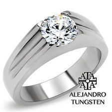 Women's Ring Wedding 2.3Ct Round Cut Stainless Steel Silver Size 5 #ABR