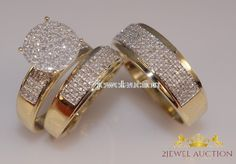 10K Yellow Gold Diamond Trio Set Matching Engagement Ring Wedding Band 2.80 Ct #2jewelauction #WeddingEngagementAnniversaryPartyDailyWear