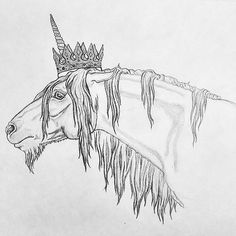 King Oberon by Sunshine Boone from Skyhorse Studio | pencil horse drawing | horse art | equine art | unicorn art | unicorn drawing | Unicorn with a crown | unicorn king