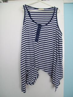 Large Women's navy and white striped vest top good used condition £2 Available to buy from www.facebook.com/KarensClobber