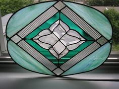 Stained Glass Panel  Oval  Beveled Glass  by CreativeSpiritGlass, $138.00