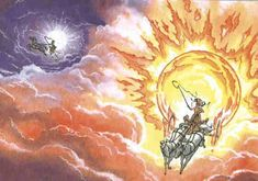 Odin, passing through the world of the jötnar, found two beautiful young giants named Sól and Máni, sun and moon. They were brother and sister, and their father had named them after the beautiful lights in the sky.