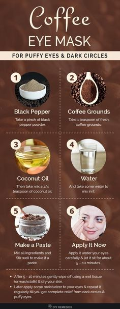 DIY Coffee Eye Mask for Puffy Eyes and Dark Circles Coffee grounds has antiox. DIY Coffee Eye Mask for Puffy Eyes and Dark Circles Coffee grounds has antioxidant and anti-infl Homemade Skin Care, Diy Skin Care, Homemade Beauty, Skin Care Masks, Skin Tips, Skin Care Tips, Beauty Care, Beauty Skin, Diy Beauty Mask