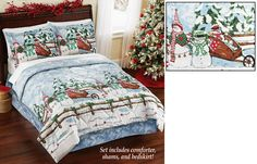 Snowman Comforter Set-Includes Shams-BedSkirt Snuggle up on a chilly winter night with this charming country snowman comforter set. Includes shams, comforter and a coordinating bed skirt http://kittykatkoutique.com/snowman-comforter-set-includes-shams-bedskirt/