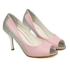 Silver Pink Color Block High Heels