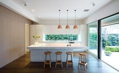 kitchen ribbon window with cabinets above - Google Search